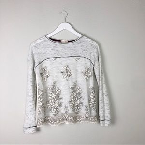 Altair's State White Boho Floral Lace Top Small